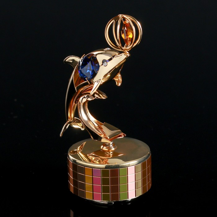 """Музыкальный сувенир с кристаллами Swarovski """"Дельфин с мячом"""" 10,7х6,1 см"""