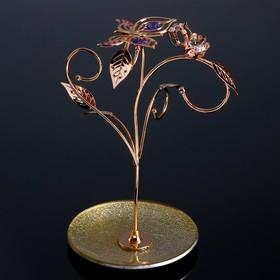 "Сувенир с кристаллами Swarovski ""Бабочка с тюльпанами"" 23х15,6 см"