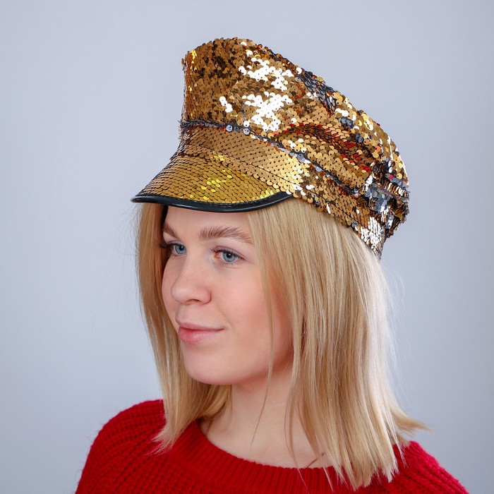 Карнавальная шляпа «Фуражка», с пайетками, цвет золотой - фото 449040