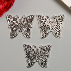 """Decor art metal """"Butterfly swirls"""" silver 3,9x3,3 cm"""