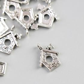 "Decor art metal ""Bird on birdhouse"" silver 1,7h1,4 cm"