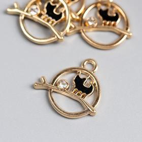 "Decor art metal, enamel, rhinestone ""Black cat on a branch"" gold 1,9kh1,9 cm"