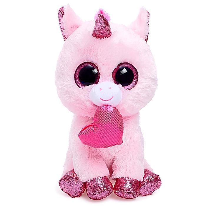 Мягкая игрушка «Единорог Darling с сердечком», цвет розовый, 25 см