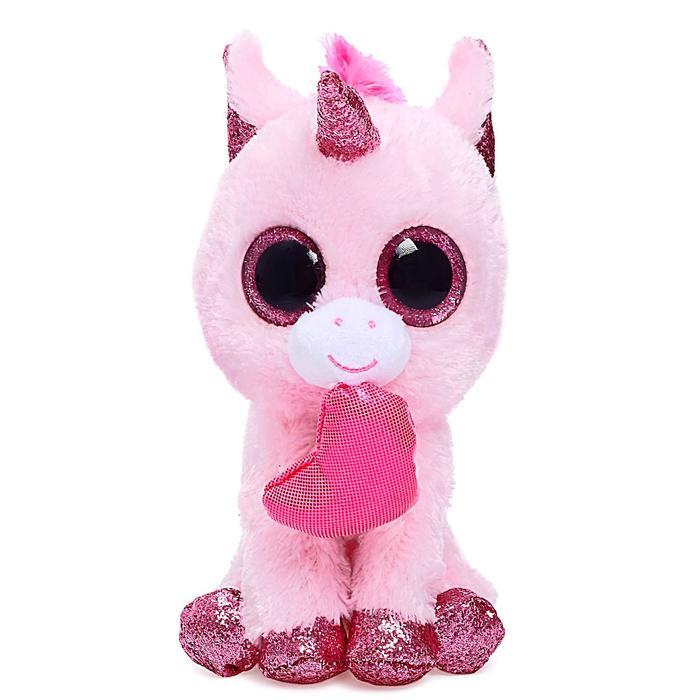 Мягкая игрушка «Единорог Darling с сердечком», цвет розовый,15 см - фото 105614446