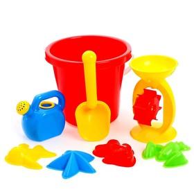 Песочный набор. 8 предметов: ведро 2,75 л, мельница, лейка-мини, совок L18см, формочки 4 шт.