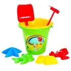 Песочный набор из 8 предметов: ведро 0,8 л, ситечко, совок, грабли, формочки 4 штуки, МИКС
