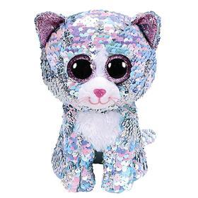 Мягкая игрушка «Кошка Whimsy», цвет голубой, в пайетках, 15 см
