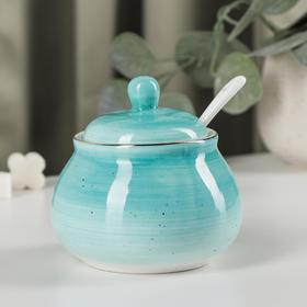 """Sugar bowl with spoon in """"milky way"""", 280 ml, 10×10×10 cm, color turquoise"""