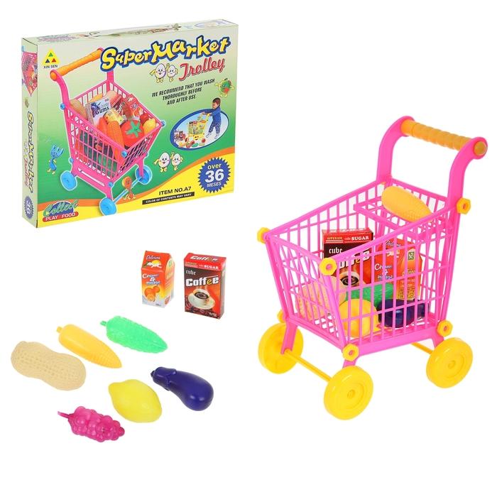 """Игровой набор """"Тележка Супермаркет"""" с продуктами, (маленькая), высота 27 см"""
