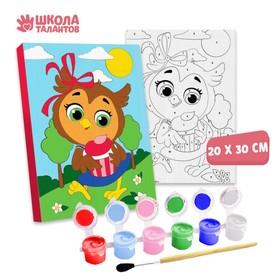 Картина по номерам «Сова с кексом» 20×30 см