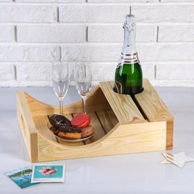 Поднос для вина под одну бутылку, ручки-вырезы боковые, масло, МАССИВ, 30×40 см