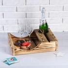 Поднос для вина под одну бутылку, ручки-вырезы боковые, обожжённый, МАССИВ, 30×40 см