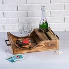 Поднос для вина под одну бутылку, ручки металлические, обожжённый, МАССИВ, 30×40 см