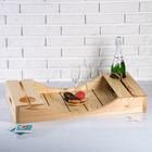 Поднос для вина под две бутылки, ручки-вырезы боковые, масло, МАССИВ, 40×70 см
