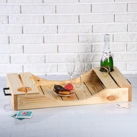 Поднос для вина под две бутылки, ручки металлические, масло, МАССИВ, 40×70 см