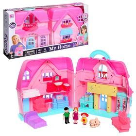 Пластиковый домик для кукол «Семья» с фигурками и аксессуарами, световые и звуковые эффекты в Донецке