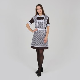 School a simple white apron with ruches on the chest,lace roses,,p/e,p-p 42-50