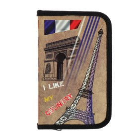 Pencil case 1 section 115 x 190, laminated cardboard, PO-02, Country Paris
