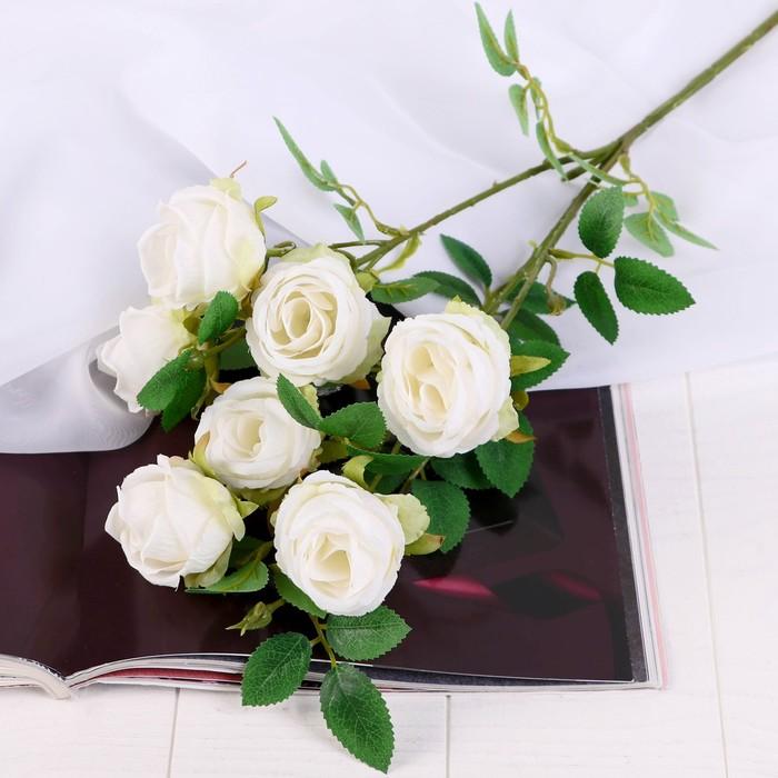 """Цветы искусственные """"Роза Септима"""" 5х65 см белый - фото 4456224"""