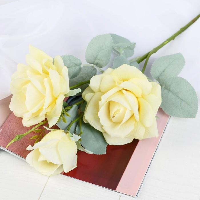 """Цветы искусственные """"Роза Терция"""" 12х60 см жёлтый - фото 4456228"""