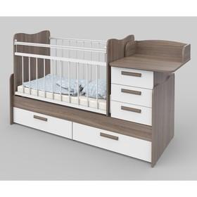 Кроватка детская Вероника (трансформер) Ясень шимо темный/Белый