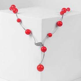 """Бусы """"Флёр"""" шарики, цвет красный в серебре, длина регулируемая, №12, бусины №16, №20"""