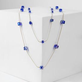 """Бусы 2 яруса """"Август"""" кубы, цвет синий кварц в золоте, L=90"""