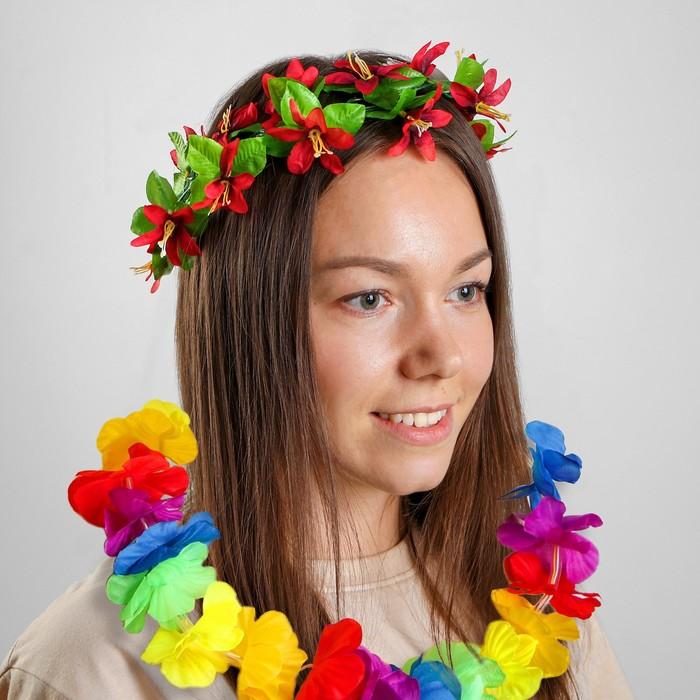 Гавайский набор «Восторг», (ожерелье световое, венок на голову)