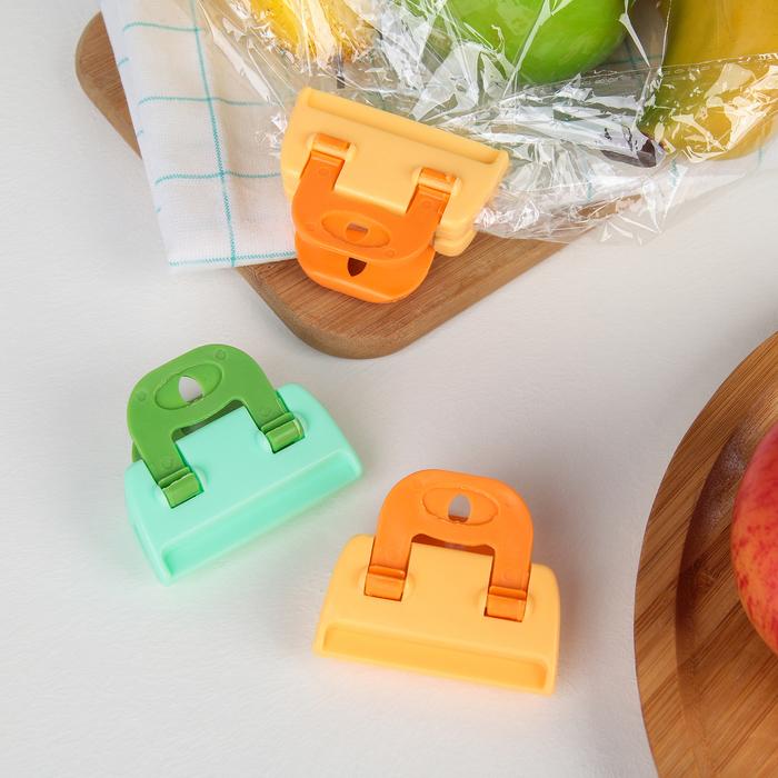 Набор зажимов для пакетов 6×4,5×2 см, 3 шт, цвет МИКС