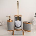 Набор аксессуаров для ванной комнаты «Лора», 4 предмета (дозатор 350 мл, мыльница, стакан, ёрш)