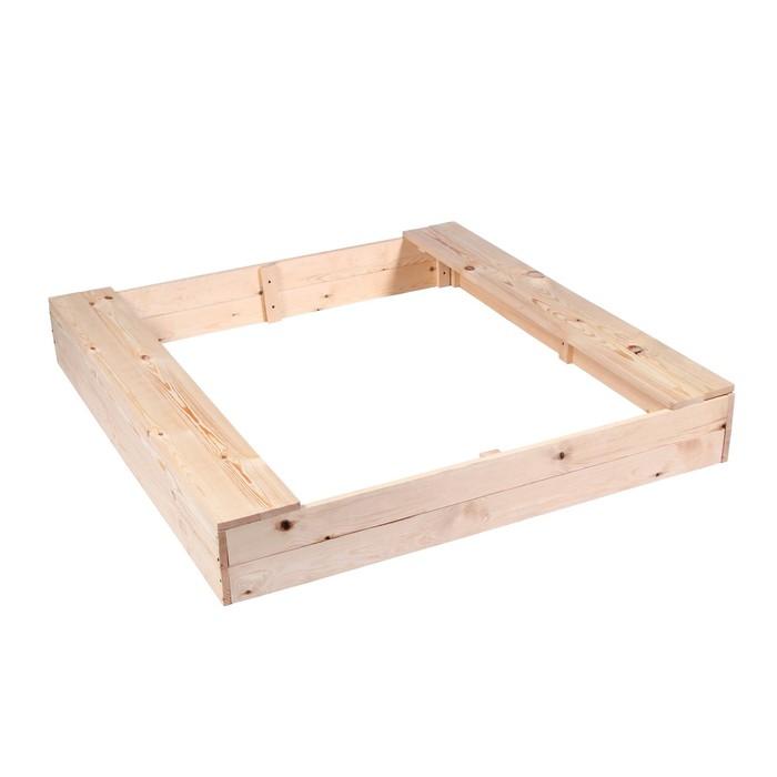 Песочница деревянная, без крышки, 150 × 140 × 20 см, с сиденьями, сосна