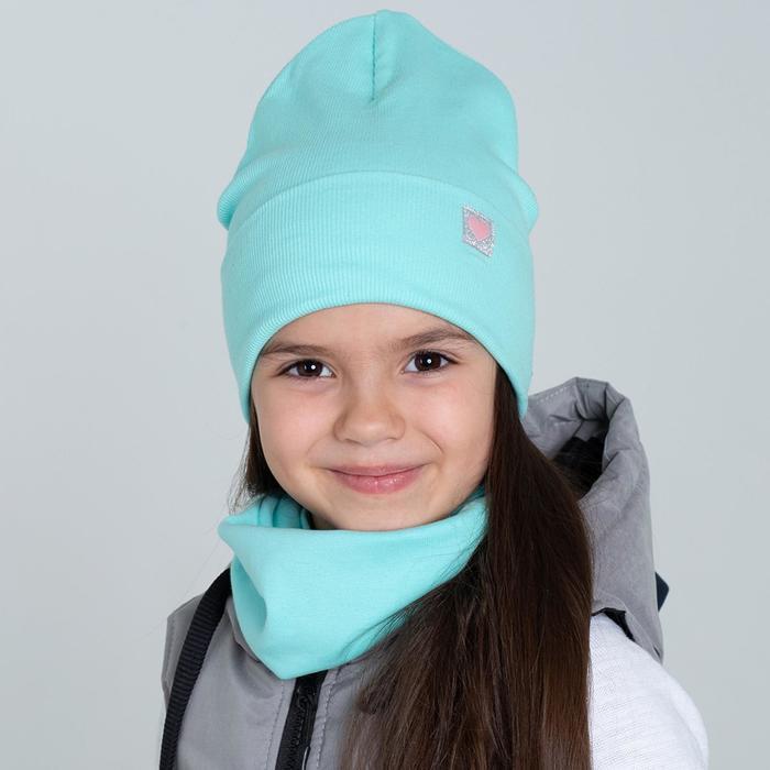 Шапочка для девочки, цвет мятный, размер 46-50 - фото 76204986