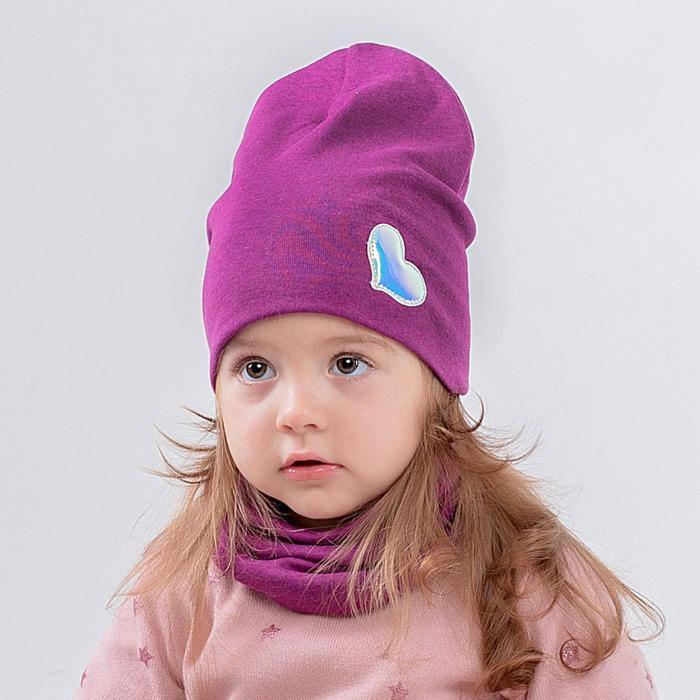 Шапка для девочки, цвет фиолетовый/сердце серебристое, размер 46-50 - фото 105570688