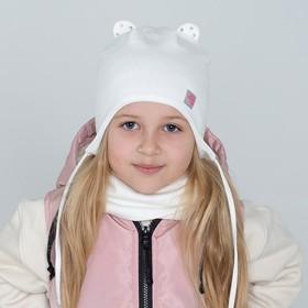 Шапка с маленькими ушками, цвет молочный/сердечко, размер 42-46