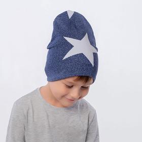 Шапка для мальчика, цвет синий/звезда, размер 54-58