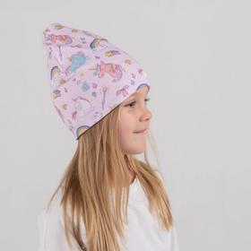 Шапочка для девочки, цвет розовый/единороги, размер 46-50
