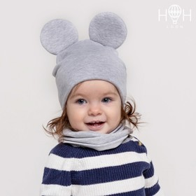 Комплект для девочки (шапка, снуд), цвет серый меланж, размер 46-50