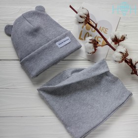 Комплект для девочки (шапка, снуд), цвет серый/акуна-матата, размер 50-54