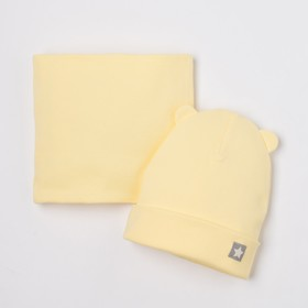 Baby set (hat, cowl), color yellow, size 46-50
