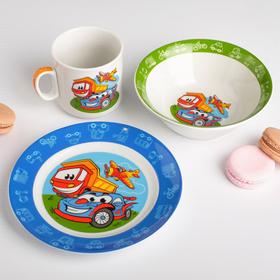 Наборы посуды «Машинки»: тарелка Ø 17 см, миска 360 мл, кружка 200 мл