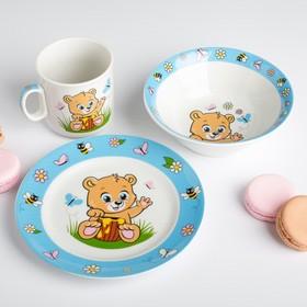 Наборы посуды «Медвежата»: тарелка Ø 17 см, миска 360 мл, кружка 200 мл