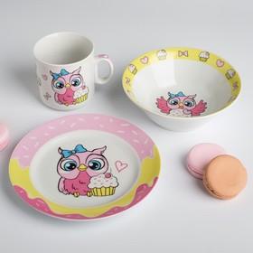 Наборы посуды «Совята»: тарелка Ø 17 см, миска 360 мл, кружка 200 мл