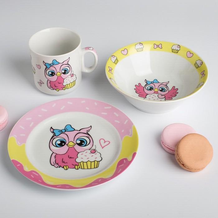Наборы посуды «Совята»: тарелка Ø 17 см, миска 360 мл, кружка 200 мл - фото 487956