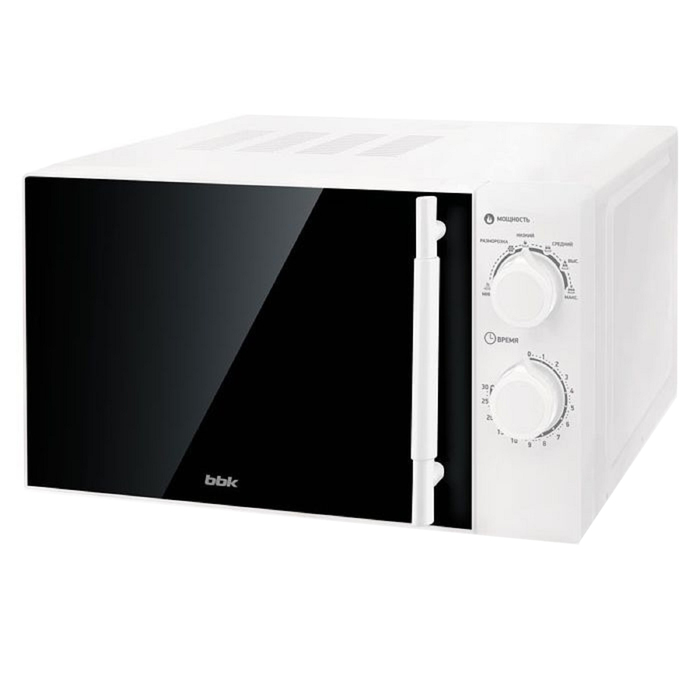 Микроволновая печь BBK 20MWS-771M/W-M, 700 Вт, 20 л, 6 ступеней мощности, чёрно-белая