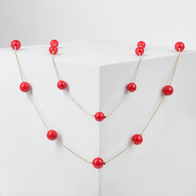 "Beads 2 strands of ""Spring"" bulbs, red gold, L=90, beads №10, №14"