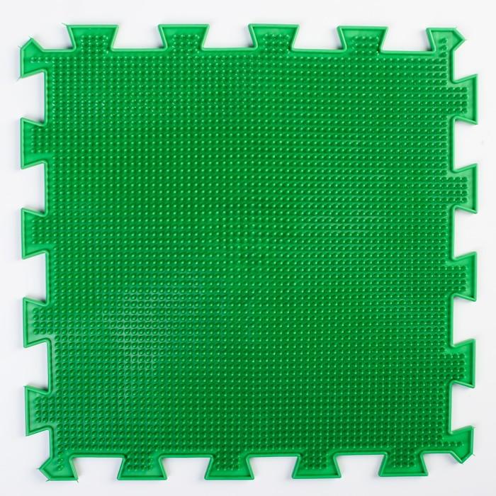 Детский массажный коврик 1 модуль «Мягкая Трава», цвет зелёный