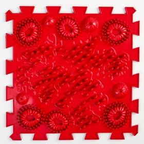 """Детский массажный коврик 1 модуль """"Морской Риф"""" цвет темно-красный"""