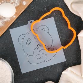 Форма для вырезания печенья и трафарет «Мишка тедди с сердцем»