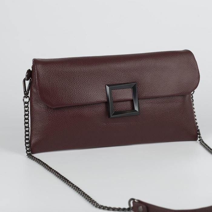Клатч женский, отдел на молнии, наружный карман, с ручкой, длинная цепь, цвет бордовый - фото 650237