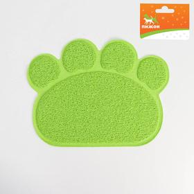 "Коврик для туалета животных ""Лапка"", 40 х 30 см, зелёный"